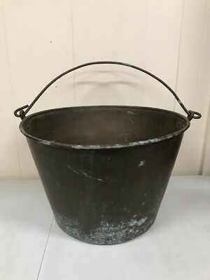 "Antique 18.5"" Randolph Clowes Large Jelly Bucket w/ Handle Hearth Brass Copper"