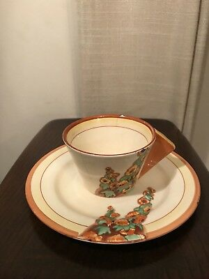Clarice Cliff sunshine pattern cup and sandwich plate