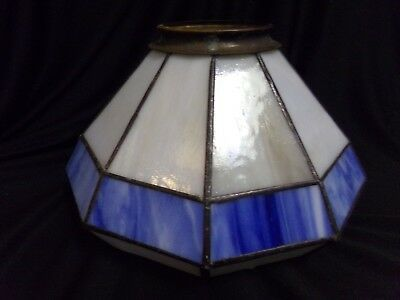 Old Vintage Blue White Stained Art Glass Leaded Lamp Shade for Table Lamp Light