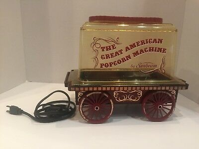 The Great American Popcorn Machine Corn Popper Sunbeam Vintage Cart Wagon