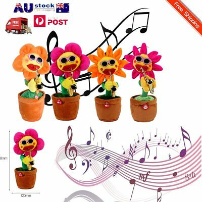 Singing Dancing Flower Doll Sunflower Plush Toys With Saxophone For Kids Gift ~Y