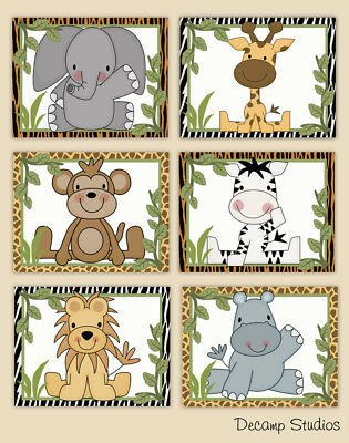 Safari Animal Prints Nursery Wall Art Baby Boy Jungle Kids Bathroom Room Decor