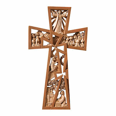 "Christ Is Risen Brown Resin Wall Cross - Stages of Christ Crucifix 9.5"" x 5.5"""