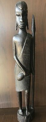 """Ebony Wood Hand Carved 18 1/2"""" Tall African Sculpture of Maasai Warrior W/Spear."""