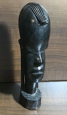 """Vintage Handcarved Ebony Wood African Art - Tribal Head / Bust 9"""" Xlnt Condition"""