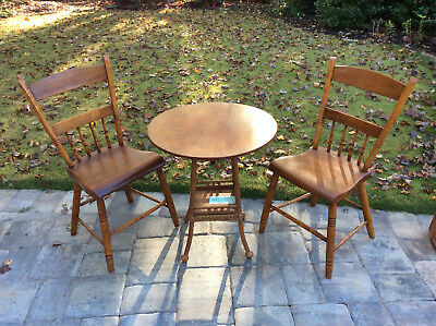 Vintage Rattan Base Round Table & Two Chairs