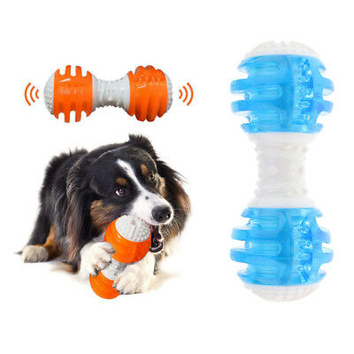Pet Dog Cat Puppy Sound Squeaky Toy Plastic Dumbbell Chewing Funny Toy