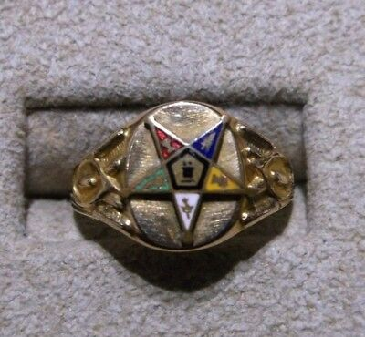 Vintage 14K Yellow Gold-Filled Masonic Eastern Star Ring