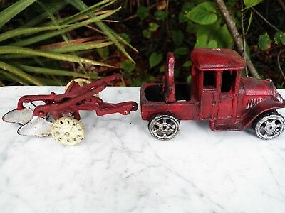Vintage CAST IRON TOY TRUCK Tractor & PLOW Hand-painted
