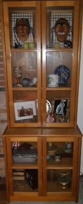 "maple 2 piece cabinet ,bottom 30"" deep 31"" wide,32"" tall, top 12"" deep, 29"" tall"