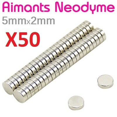 Lot 50 Minis Aimant Neodyme Neodymium Magnets Disque Rond Fort Puissant 5mmX2mm