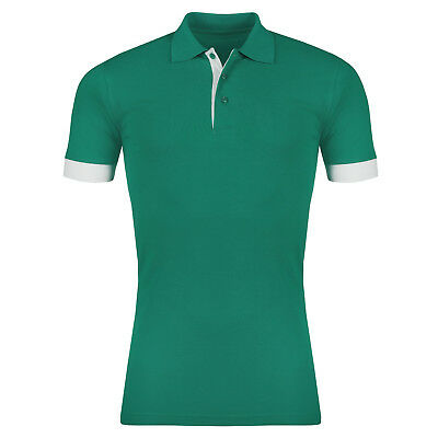 New Mens Polo Shirt Short Sleeve Plain Contrast 100% Cotton Pique Top T Tee