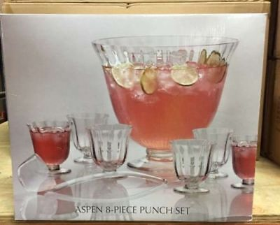 Aspen 8 Piece Punch Set/Cocktail Punch Bowl Set Perfect for Parties or as a Gift