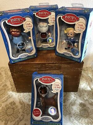 RARE SET OF 4 Rudolph Red nose Reindeer CHRISTMAS Talking ornaments NIB 50th