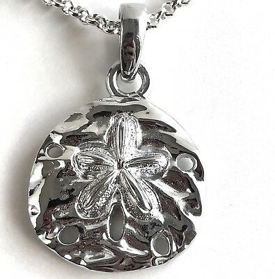 Arthur Court Jewelry Necklace Sand Dollar Aluminium 18 to 20in Chain Beach 1.5in