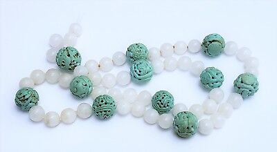 Vintage Chinese Carved Shou Turquoise & White Hard Stone Bead Necklace 181 gr