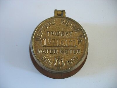 Vintage Neptune Trident NY Brass Water Meter Cover mounted on wood base box