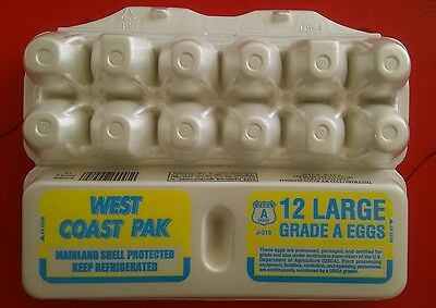 Styrofoam Egg Cartons West Coast Pack Qty 100 - 12 Ct Carton For Large Eggs