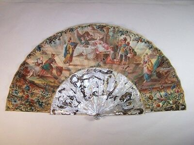 Antique 18thC french carved mother of pearl hand painted fan Alexandre The Great