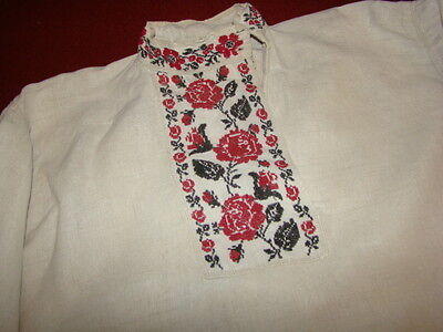 Vintage Ukrainian embroidered linen men's shirt Poltava region # E45