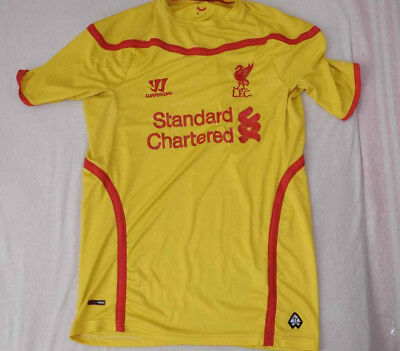 on sale 2e8b4 77581 LIVERPOOL 2014 - 2015 away jersey Yellow kit Warrior shirt Size Men's S LFC