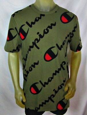 4f2e349e Champion Men's S S Heritage All Over Explode Script T-Shirt Green Large NWOT