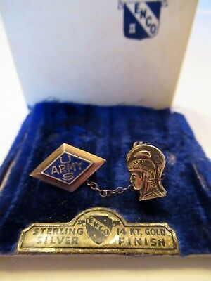 Vtg WWII Women's Army Corp WAC Pin Sterling Silver 14k Gold Sweetheart Orig Box