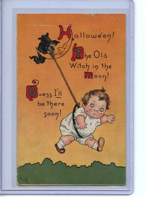 Halloween Postcard Series #124 Old Witch in the Moon 1914 Antique Written
