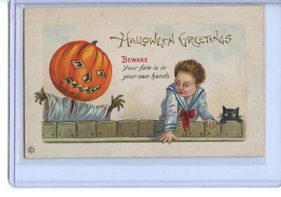 Halloween Greetings Beware Postcard Stecher Litho Early 1900s Antique