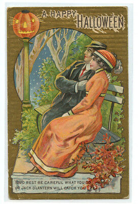 Postcard Early 1900 A Happy Halloween 552 Youd best be careful Gold Foil