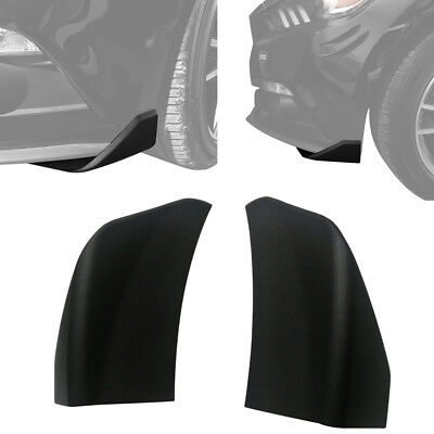Pair Matte Black Paintable Front Bumper Chin Winglets For 2015-2017 Ford Mustang