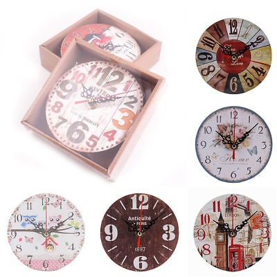 Vintage Rustic Wooden Wall Clock Antique Shabby Chic Retro Home Kitchen Decor YH