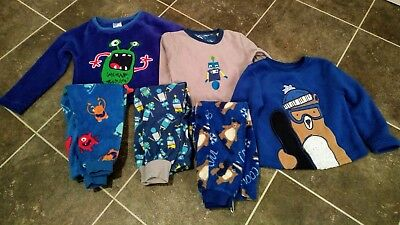 3x boys age 3-4 winter woolly robot, bear, monster, blue PJs bundle