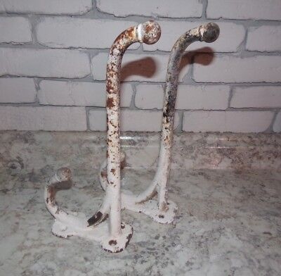 "Pair Of Antique Large Cast Iron 12"" Horse Harness Barn Hooks - Barn Fresh"