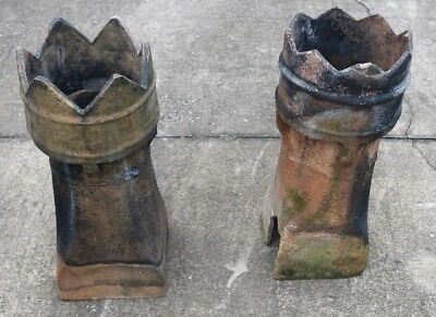 2 English Chimney Pots Terra Cotta Chess Pieces Authentic