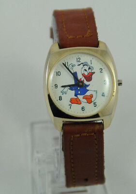 Vintage Disney Donald Duck Hand Wound Watch for Repair (missing crown) VGC