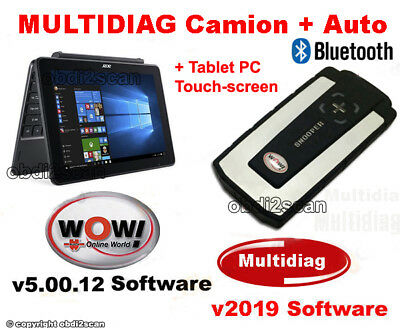 DIAGNOSI AUTO PROFESSIONALE MULTIMARCA WOW 2018 + Tablet PC TOUCH SCREEN