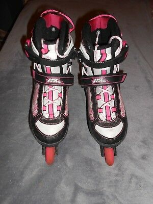 Girls No Fear In Line Adjustable Size Roller Boots - Size 4- 6.5