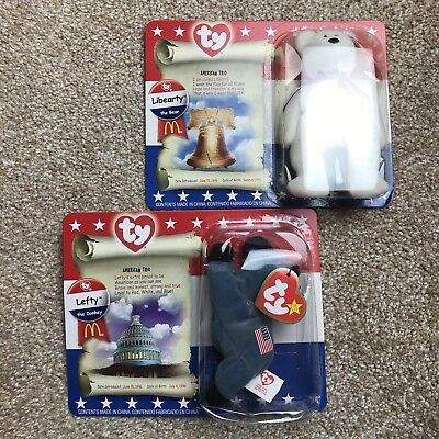 Ty Beanie Babies Lefty The Donkey And Liberty The Bear new In Box