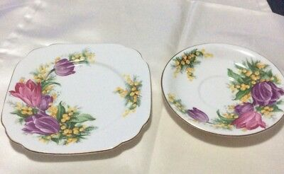 Saucer And Side Plate - QueenAnne - Tulip Time - England