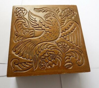 Vintage Russian Made Hand Carved Dove Of Peace Design Woodern Box