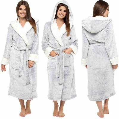 Womens Ladies Dressing Gown Hooded Fleece Lined Fluffy Snuggle Soft Warm Robe