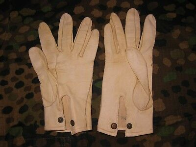 WW2 German Wehrmacht  Officers white leather dress gloves sz small