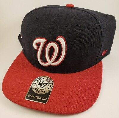 10ea6c9cd72 Washington Nationals W -  47 Brand MLB Snapback Hat - Flat Brim - Sure Shot