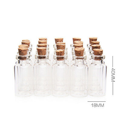 25pcs 18x40mm DIY Small Glass Spice Jars with Cork Stopper Lid for Wedding Party
