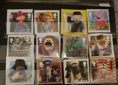 GB 2014 QE2 Classic Childrens TV set 12 x 1st Class used stamps on paper