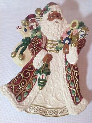 """Opulence African American Santa 14.5"""" Plate Platter with Box - New"""