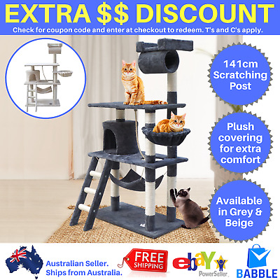 Cat Scratching Post Toy Tree House Kitten Pole Scratch Pet Gym Furniture 141cm