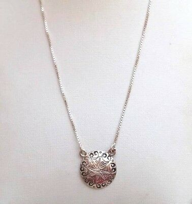 Vintage Israeli 925 Sterling Silver Women's Necklace Rare Cute Round Pendant