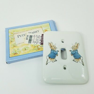 SIGNED LORD WEDGWOOD Peter Rabbit Light Switch Cover Beatrix Potter Porcelain